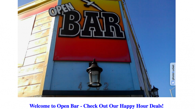 The Open Bar Pacific Beach Happy Hour Specials